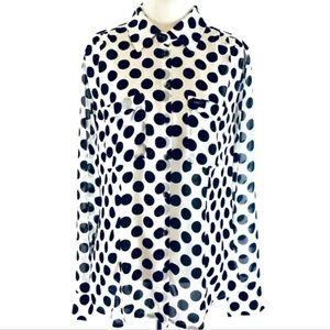 GUESS Polka Dot Blouse Button Up Sheer Shirt Small
